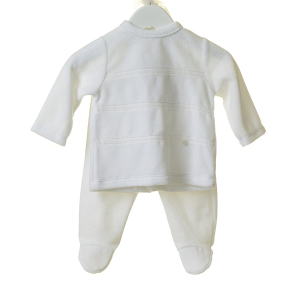 TT0208 - UNISEX WHITE VELOUR 3PC SLEEPER SET WITH HAT (6PCS)