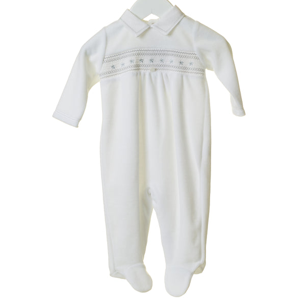 TT0213 - UNISEX WHITE SMOCKED VELOUR SLEEPER (6PCS)