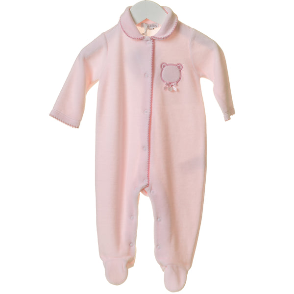 TT0233 - PINK VELOUR SLEEPER WITH BEAR APPLIQUE (6PCS)