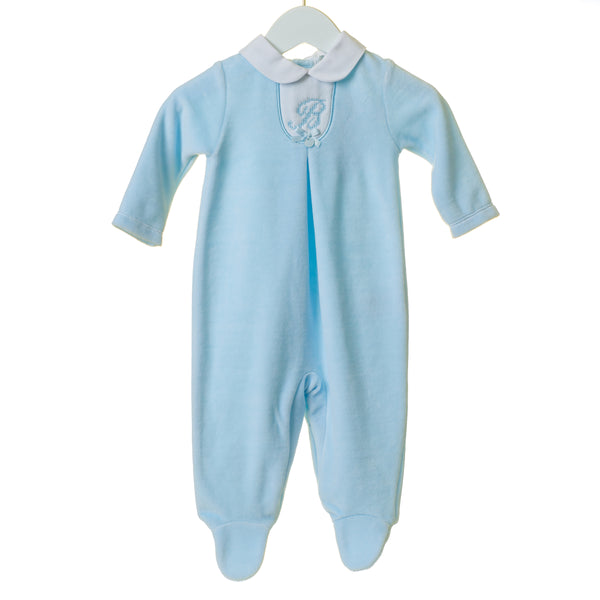 "TT0234 - BOYS BLUE VELOUR SLEEPER WITH ""B"" EMBROIDERY (6PCS)"