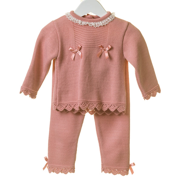 TT0255 - GIRLS FLAT KNIT 2PC SET WITH CONTRAST IVORY LACE (6PCS)