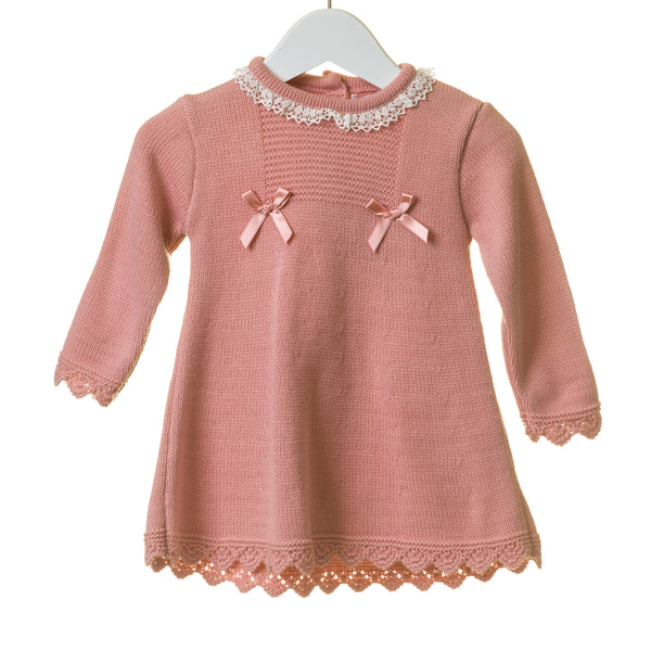 TT0256 - GIRLS FLAT KNIT DRESS WITH CONTRAST IVORY LACE (6PCS)