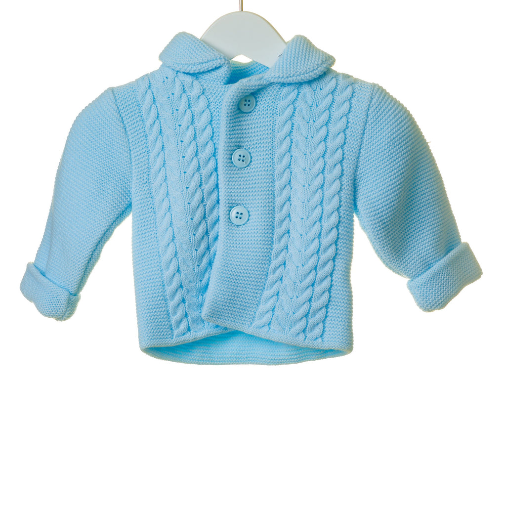 R-TT0267 - BOYS DOUBLE KNIT CABLE 2PC JACKET AND HAT SET