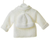 TT0268A - WHITE UNISEX DOUBLE KNIT CABLE 2PC JACKET SET WITH HAT (6PCS)