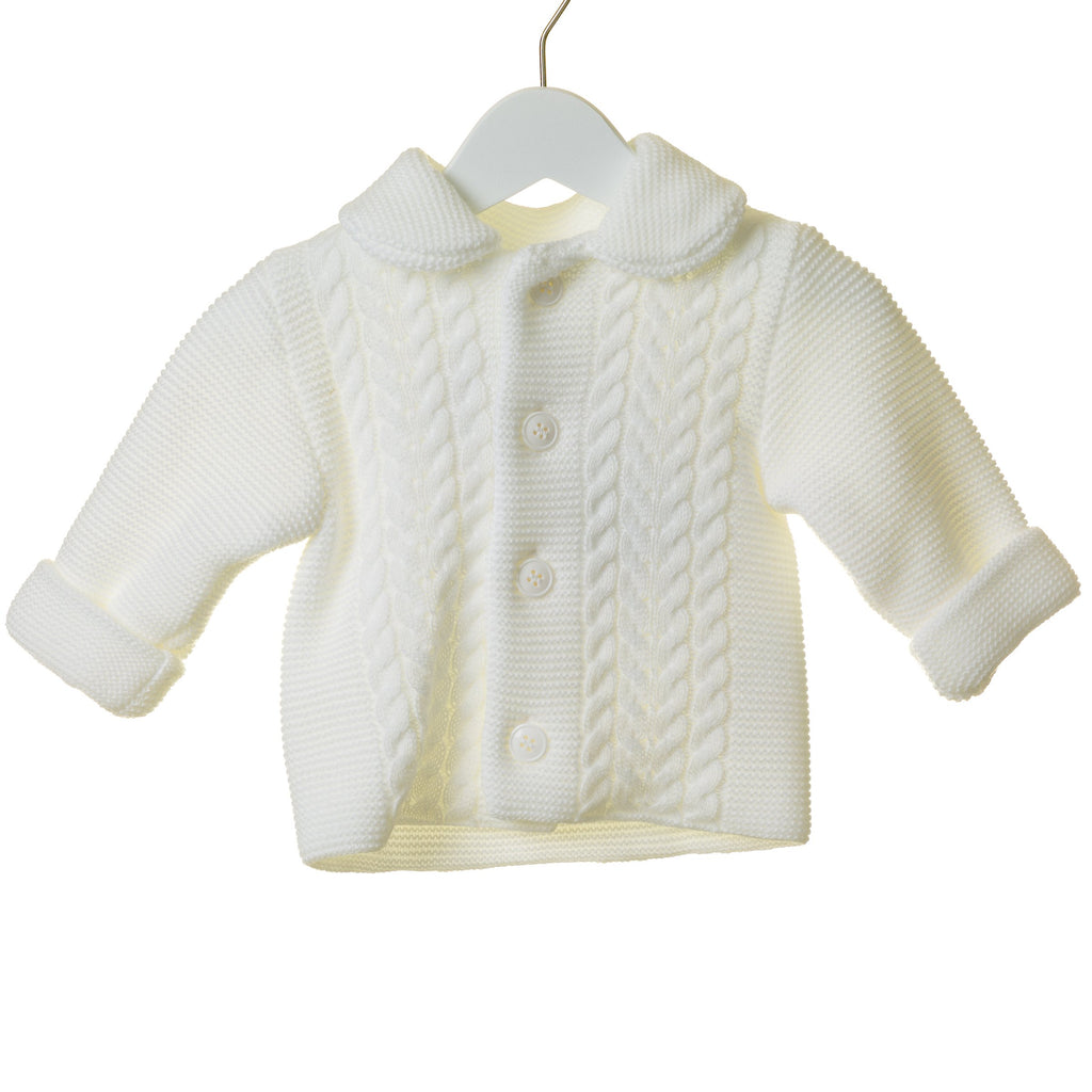 R-TT0268A - WHITE UNISEX DOUBLE KNIT CABLE 2PC JACKET SET WITH HAT