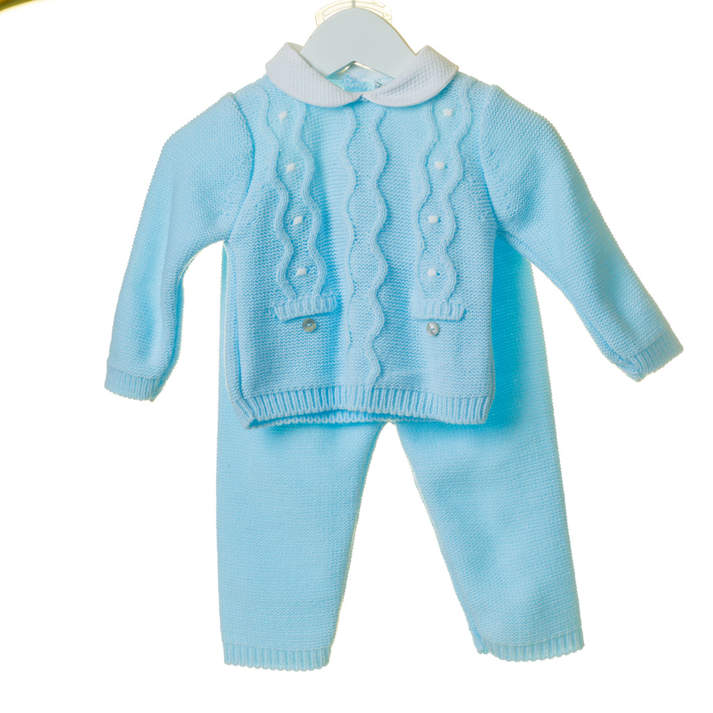TT0277 - BOYS CABLE KNIT 2PC SET WITH CONTRAST WOVEN COLLAR (6PCS)