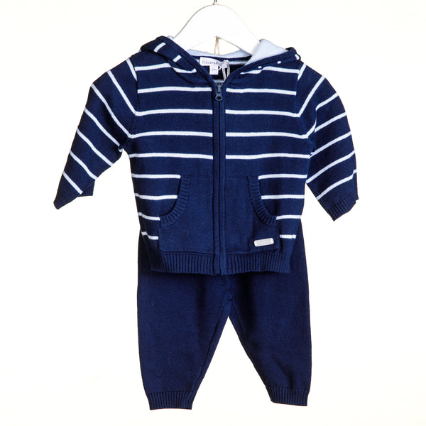 VV0108 - BOYS KNITTED NAVY 2PC STRIPE JOGGER SET (6PCS)