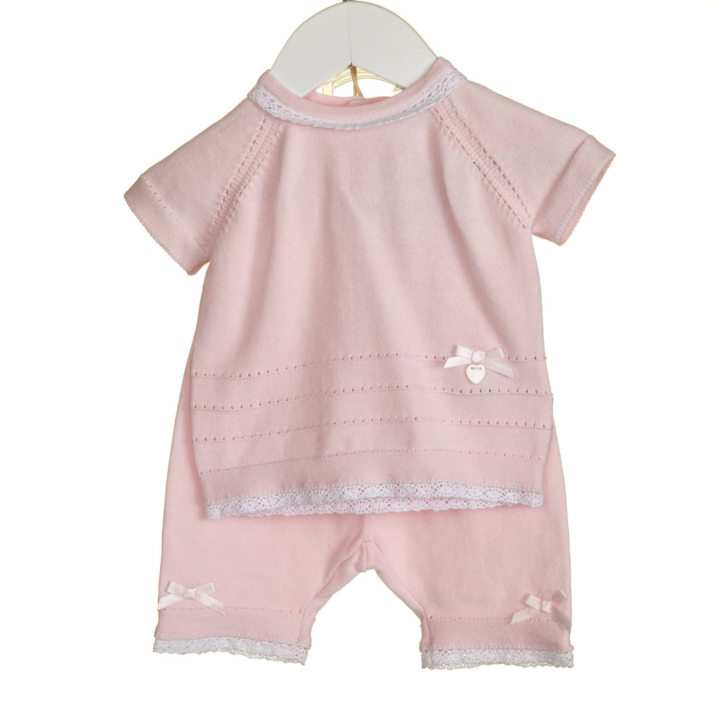 R-VV0139 - GIRLS KNITTED 2PC SET WITH SHORTS