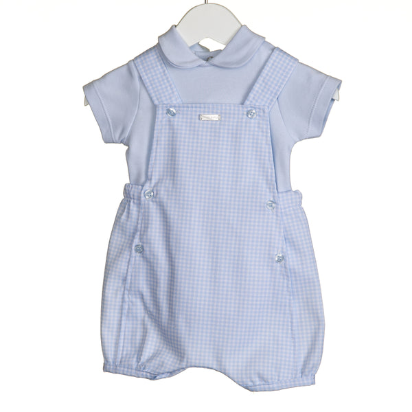 VV0212 - BOYS 2PC GINGHAM DUNGAREE SET (6PCS)