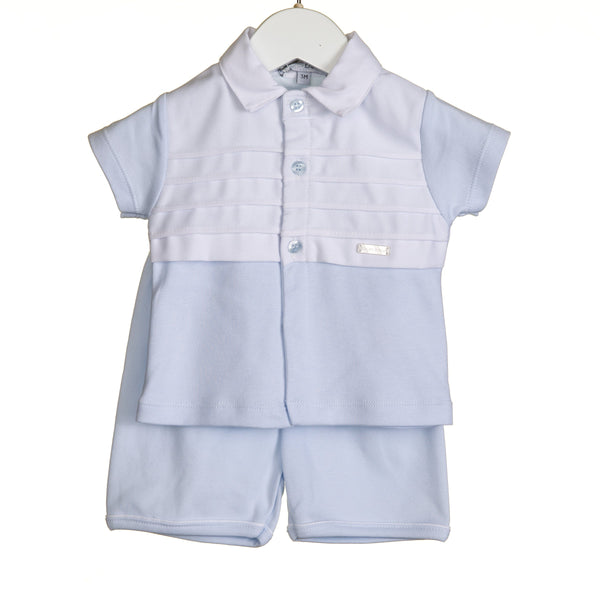 R-VV0220 - BOYS 2PC SHORT SET WITH PIQUE TRIM