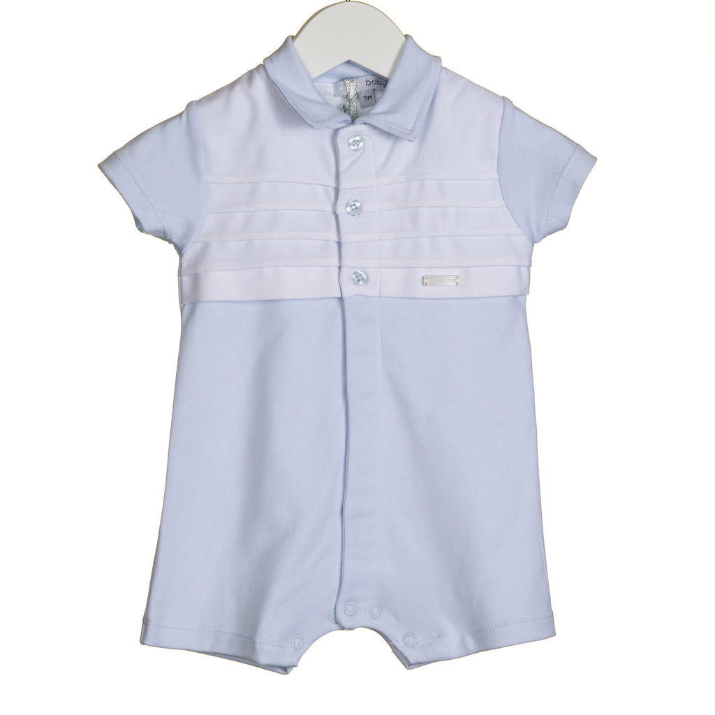 VV0221 - BOYS ROMPER WITH PIQUE COLLAR AND YOKE (6PCS)