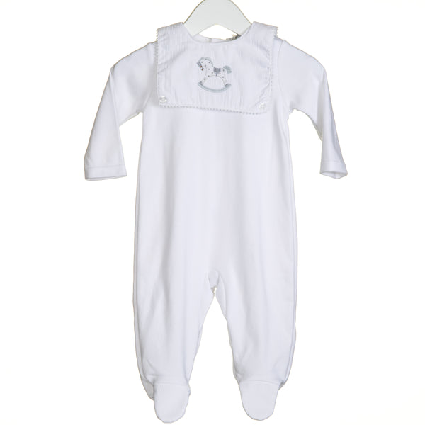 VV0232 - WHITE INTERLOCK SLEEPER WITH HORSE EMBROIDERY BIB ATTACHED (6PCS)