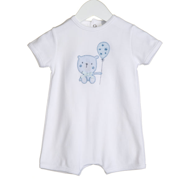 VV0239 - BOYS ROMPER WITH BEAR APPLIQUE EMBROIDERY (6PCS)