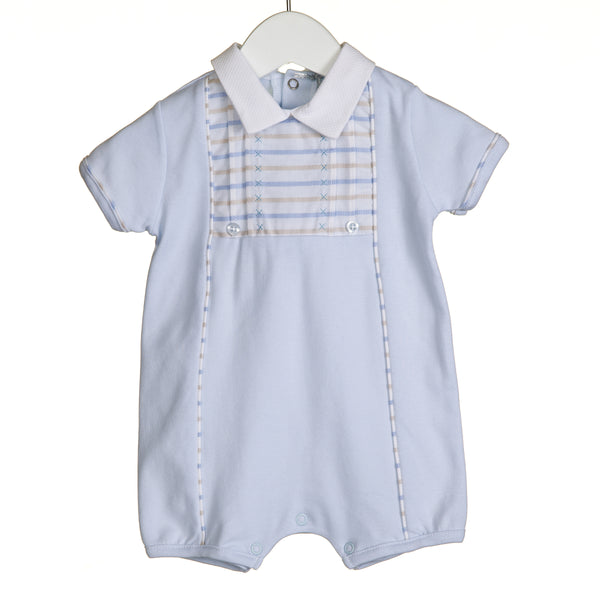 VV0240 - BOYS ROMPER WITH JACQUARD STRIPE TRIM (6PCS)