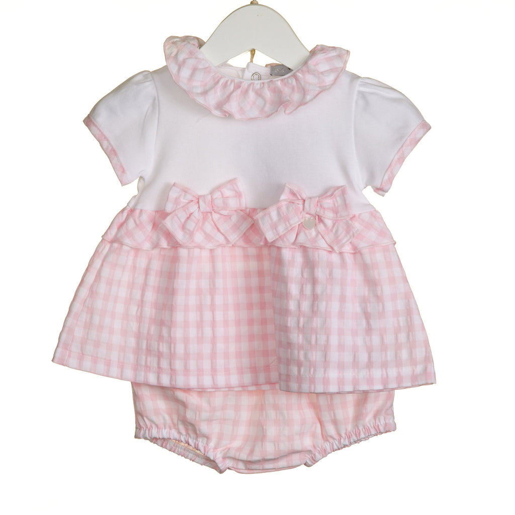 R-VV0266 - GIRLS 2PC PINK GINGHAM TOP AND BLOOMER SET