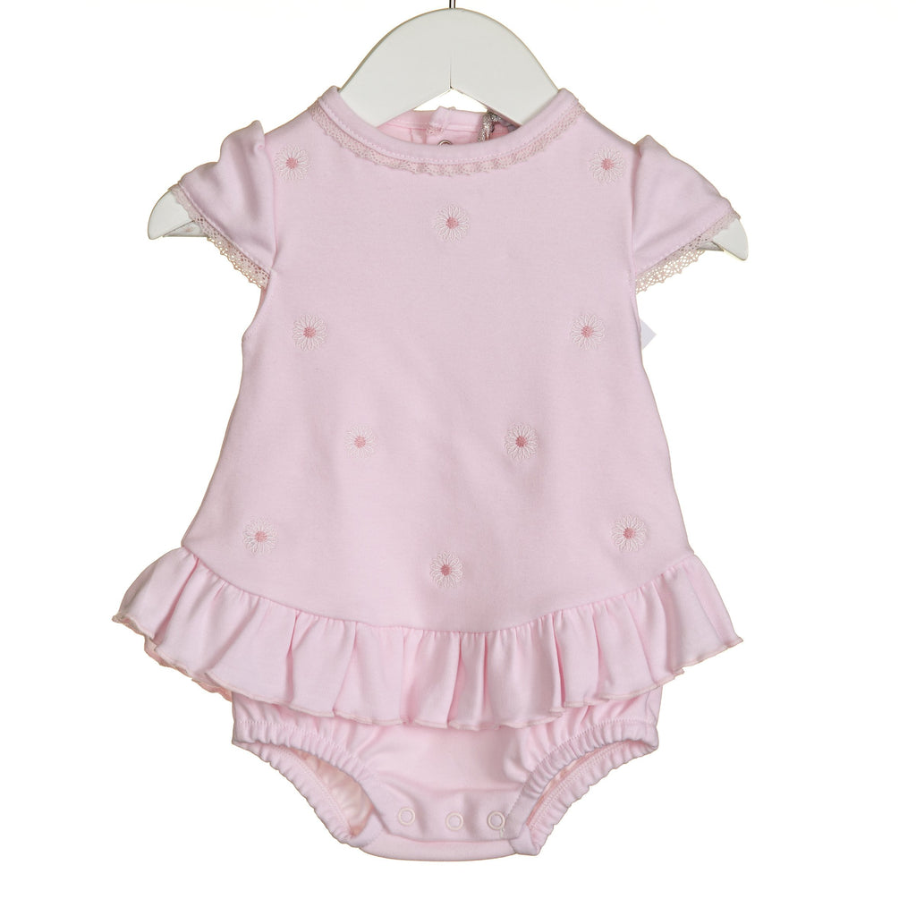 R-VV0269 - GIRLS PINK DAISY EMBRIDERY ROMPER AND OVERDRESS