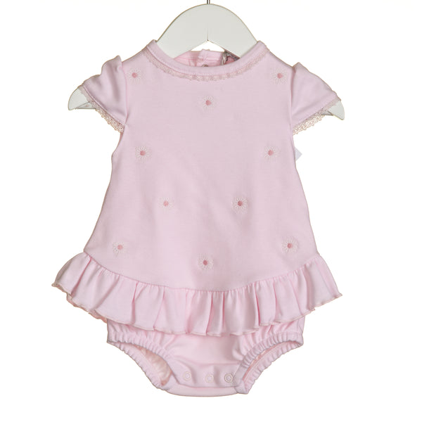 VV0269 - GIRLS PINK DAISY EMBRIDERY ROMPER AND OVERDRESS (6PCS)