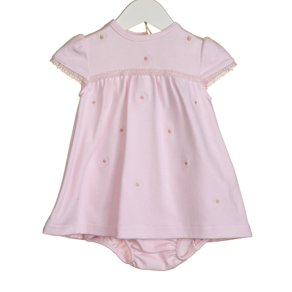 R-VV0270 - GIRLS 2PC PINK DAISY EMB TEE AND BLOOMER SET
