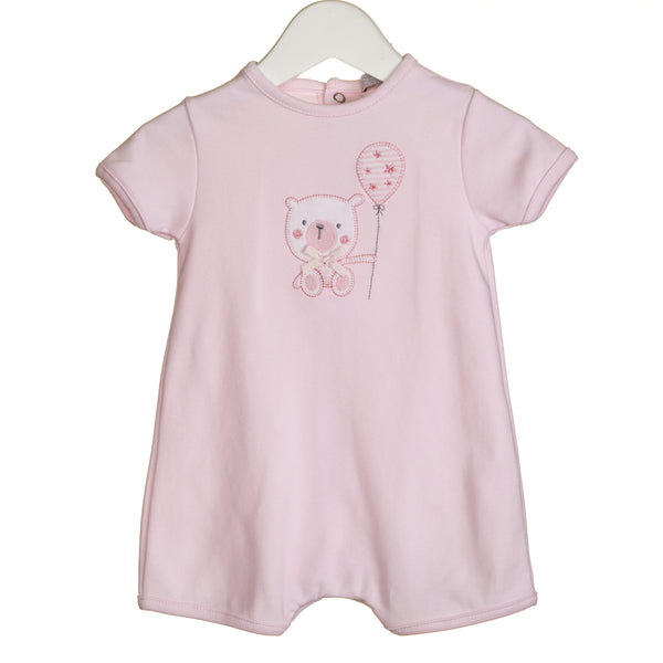 VV0278 - GIRLS BEAR APPLIQUE ROMPER (6PCS)