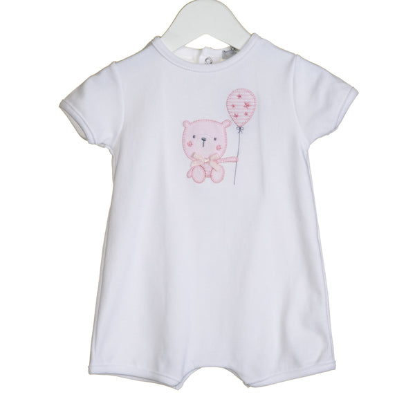 R-VV0279 - GIRLS BEAR APPLIQUE ROMPER