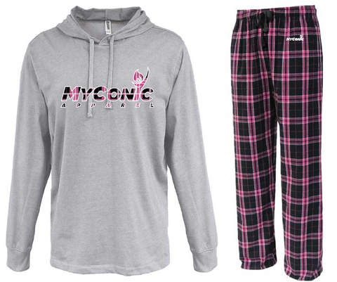 Opening Ceremony Unisex Flannel Pajama Set - Black & Pink