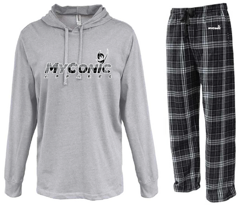 Opening Ceremony Unisex Flannel Pajama Set - Black & White