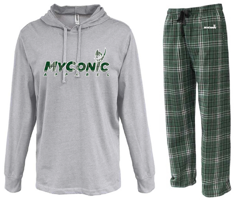 Opening Ceremony Unisex Flannel Pajama Set - Green & White