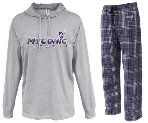 Opening Ceremony Unisex Flannel Pajama Set - Purple & White