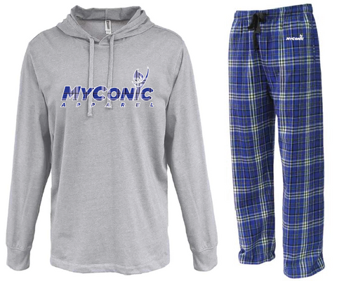 Opening Ceremony Unisex Flannel Pajama Set - Royal & White