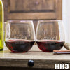 2 Stemless Red Wine Glass Set - Design: HH3