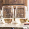 2 Stemless White Wine Glass Set - Design: HH3