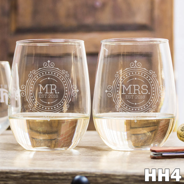 2 Stemless White Wine Glass Set - HH4