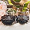 Etched Stemless Red Wine Glasses Set of 2 - Design: Smile & Laugh