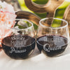 Etched Stemless Red Wine Glasses Set of 2 - Design: Princess & Queen