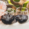 Etched Stemless Red Wine Glasses Set of 2 Wild One - Design: MDS4