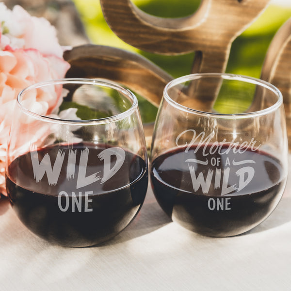 Etched Stemless Red Wine Glasses Set of 2 Wild One - Design: MD4