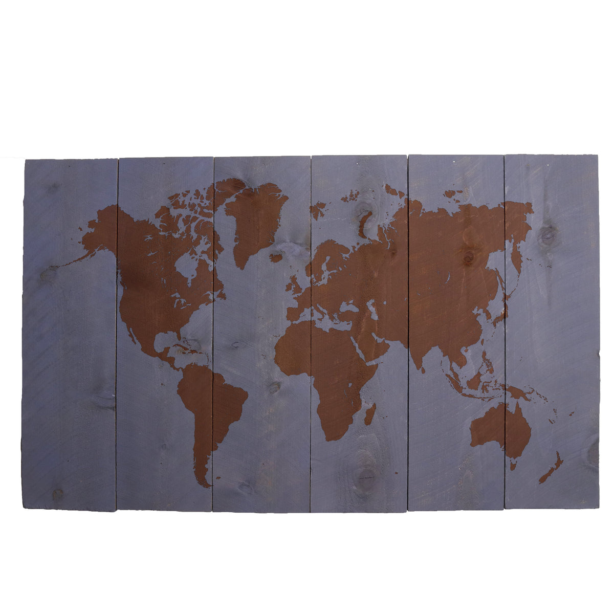 Vertical Wood Plank 33x20 Gray - World Map w/Quote
