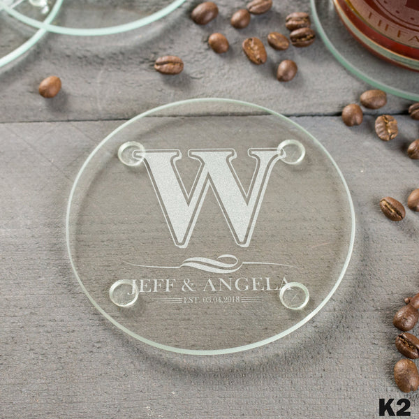 4 Glass Coaster Set - Design: K2
