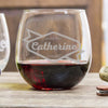 Etched Stemless Red Wine Glasses - Design: B2 for Bridesmaids