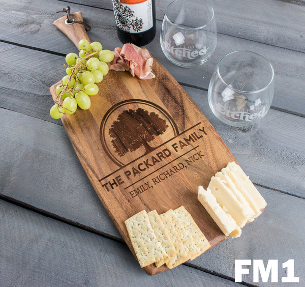 Personalized Cheese Board Rectangle Family Tree - Design: FM1
