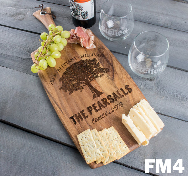 Personalized Cheese Board Rectangle - Design: FM4 Family Tree