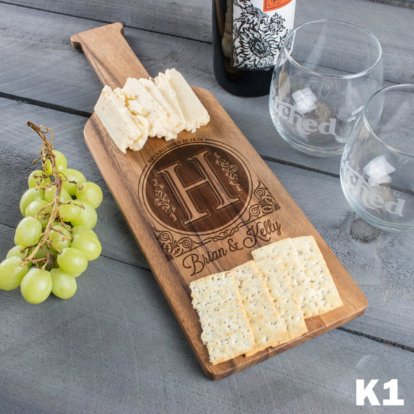 Monogram Wine Bottle Cheese Board - 9 Designs
