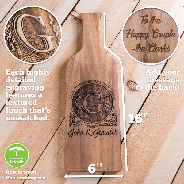 Wine Bottle Cheese Board with Custom Design