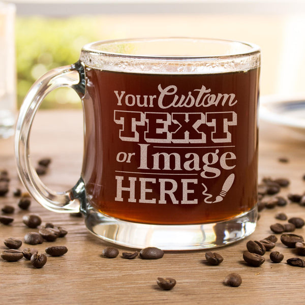 Etched glass coffee mug is customized with your logo, monogram, image, or text.