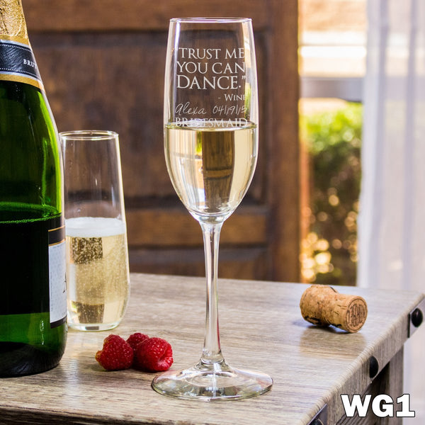 Etched Champagne Flutes - Design: WG1 Bridesmaids