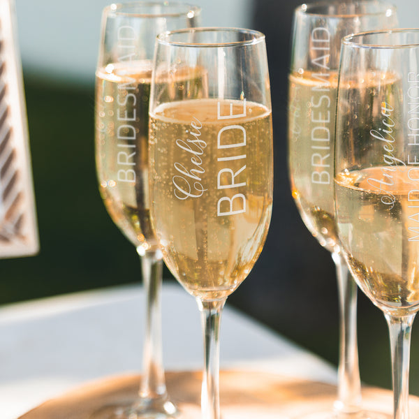 Etched Champagne Flutes Bridal Party - Design: WG4