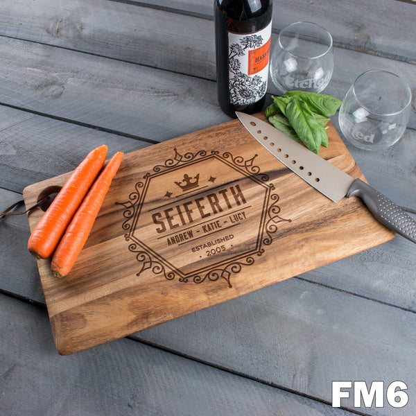 Large Cutting Board with Family Crest - 6 Designs