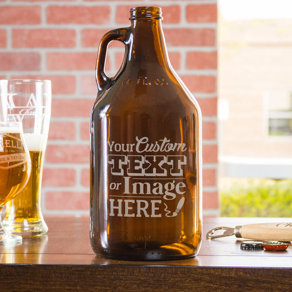 Etched Glass Growler - Design: CUSTOM
