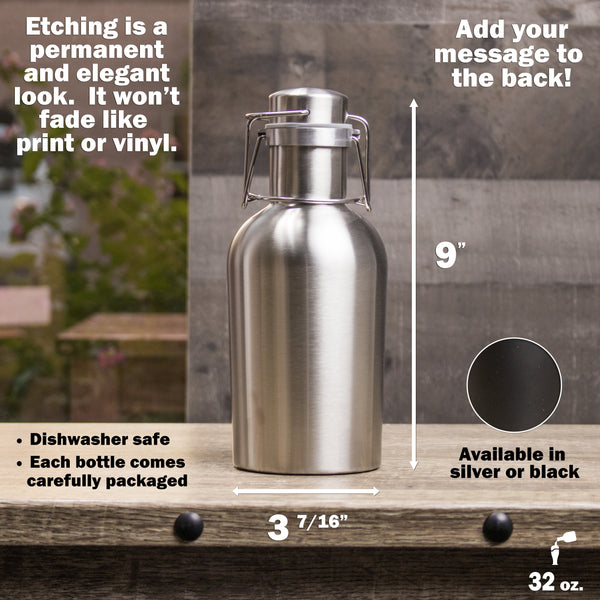 32oz Stainless Steel Growler - Design: B3