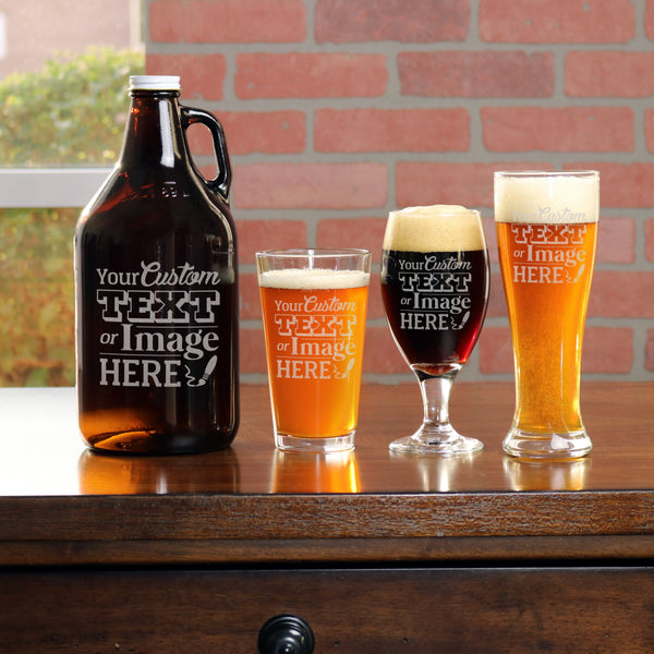 Personalized Beer Glasses & Growler Set - Design: CUSTOM